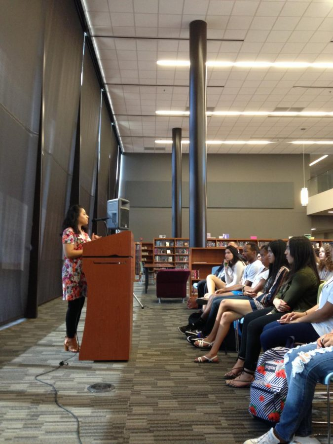 Immigrant rights activist Mayra Esquivel speaks in the library about DACA on October 13.