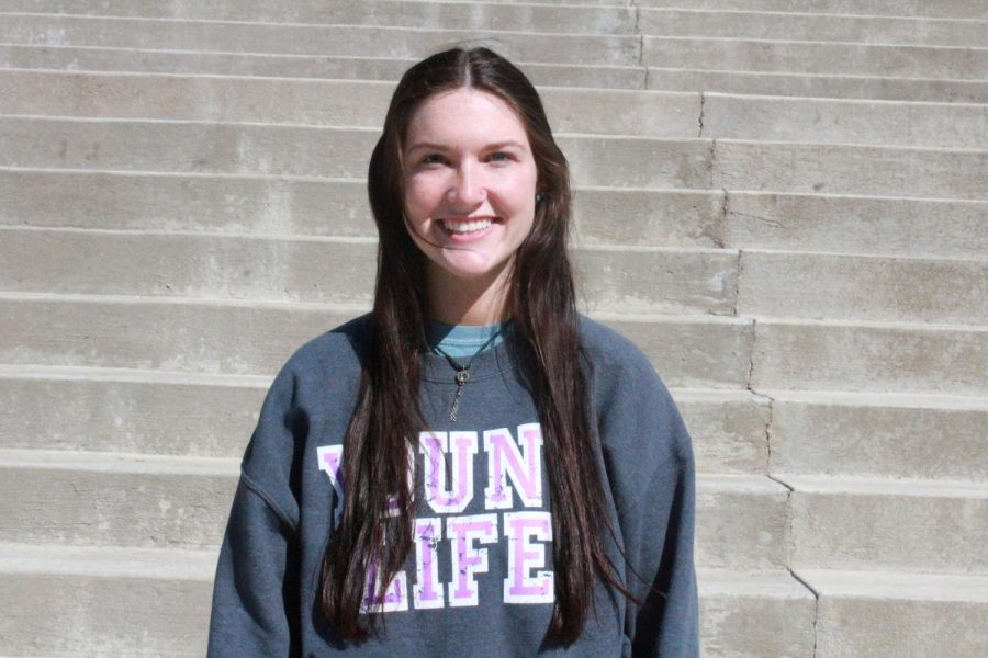 Lauren Kantor at FHS representing Young Life.
