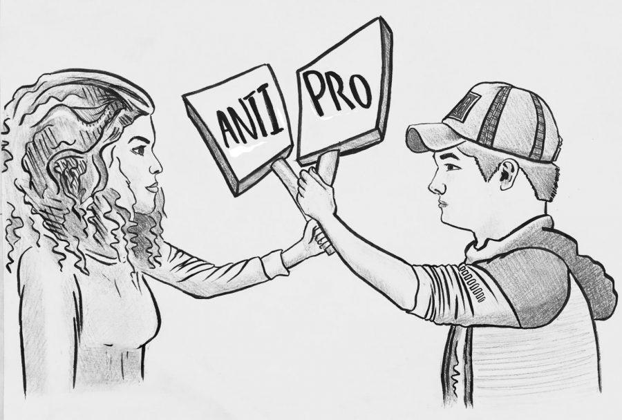 Cartoon drawn by staff member Alice Cai of Billie Firmin and Gavin Kuncl.