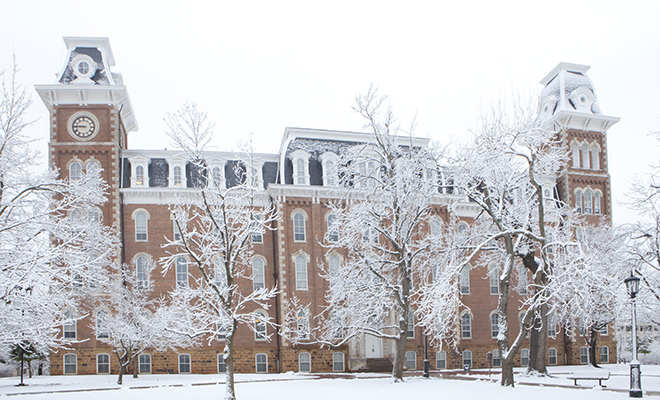 University of Arkansas Old Main Building During Past Winter in Fayetteville, Arkansas Picture Obtained from the    news.uark.edu Website