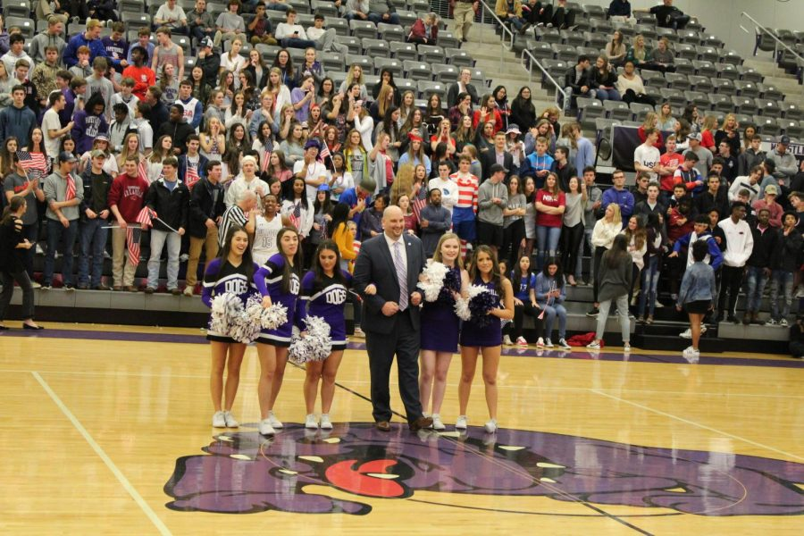 FHS cheer welcoming Fayetteville High-schools new principle  Dr.Jay Dostal to our school.