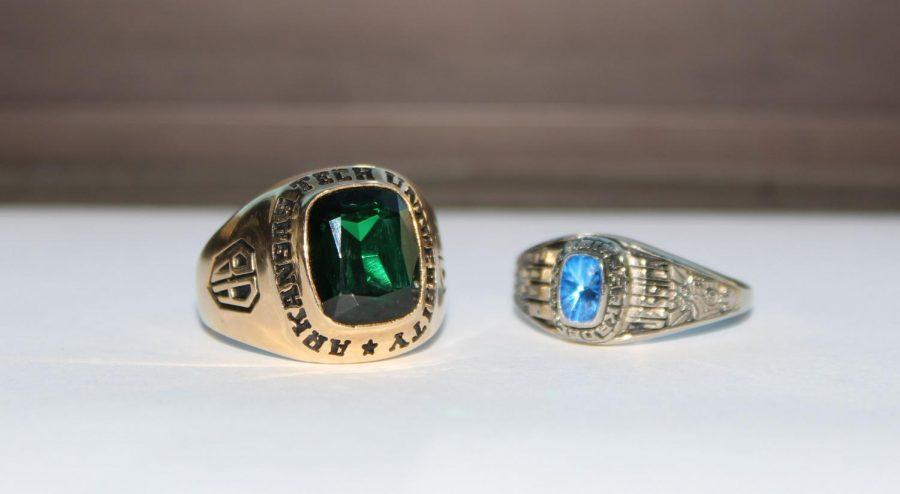 Class rings of Arkansas Tech  University and Arkadelphia Highschool.
