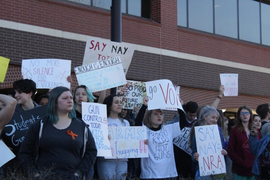 Fed up with current legislation, FHS students protest in front of the courthouse. During the Wednesday, March 14 protest, students voiced their support of stricter gun laws. New legislation to be proposed in the next state legislative session may help to address the concerns of students and gun control advocates.