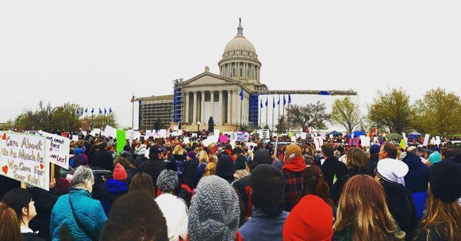 Oklahoma teachers and their supporters march on the capital for more education spending by the state.