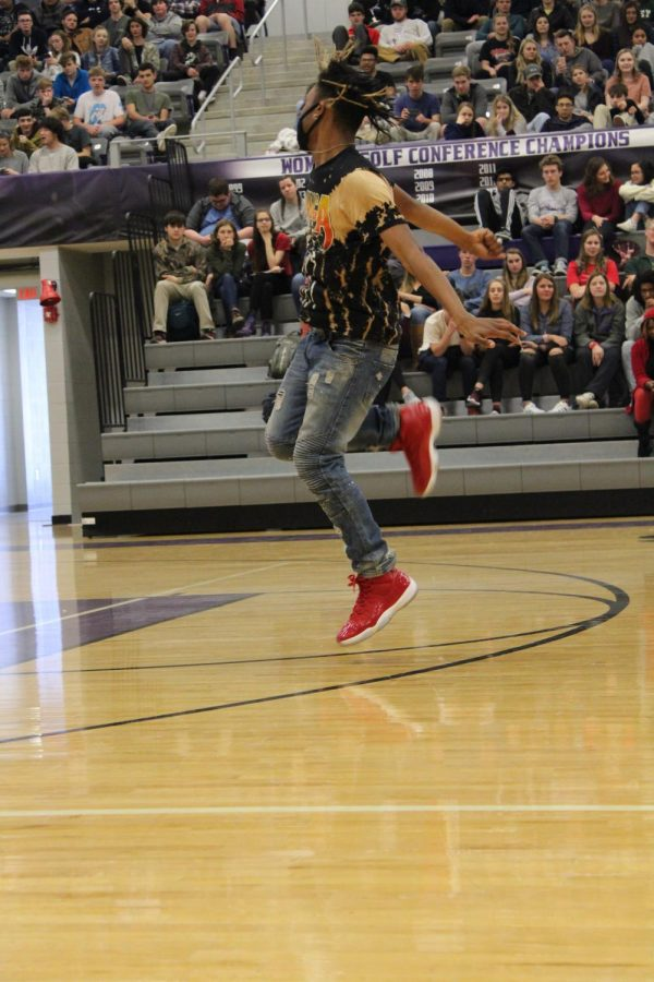 FHS student Rodrick Hull (12) does a freestyle dance.