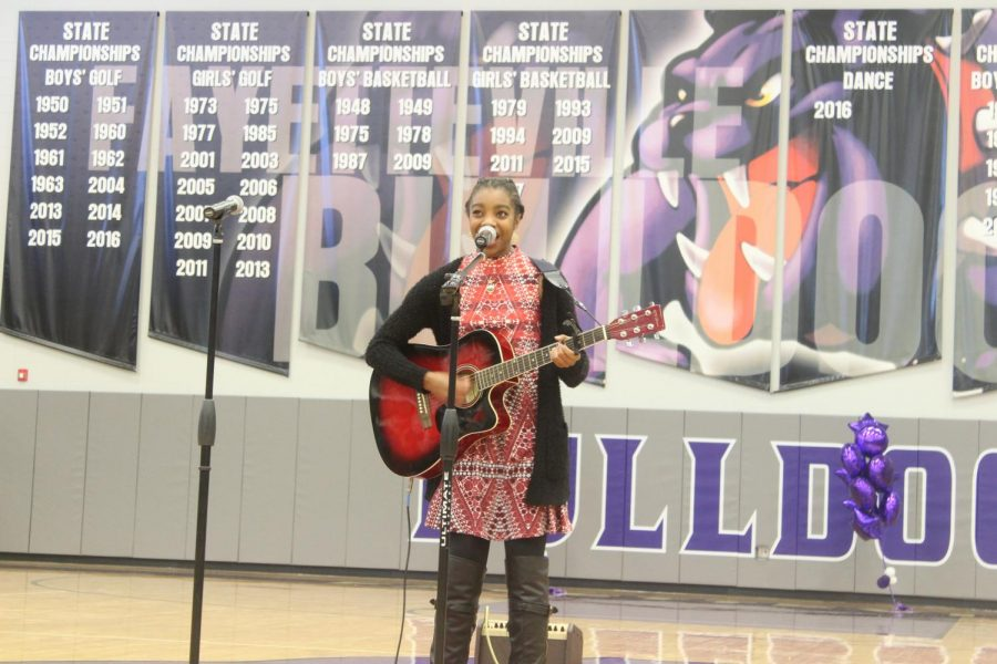 Kamrin Thorton (12) performing a self-written piece for her last FHS talent show.