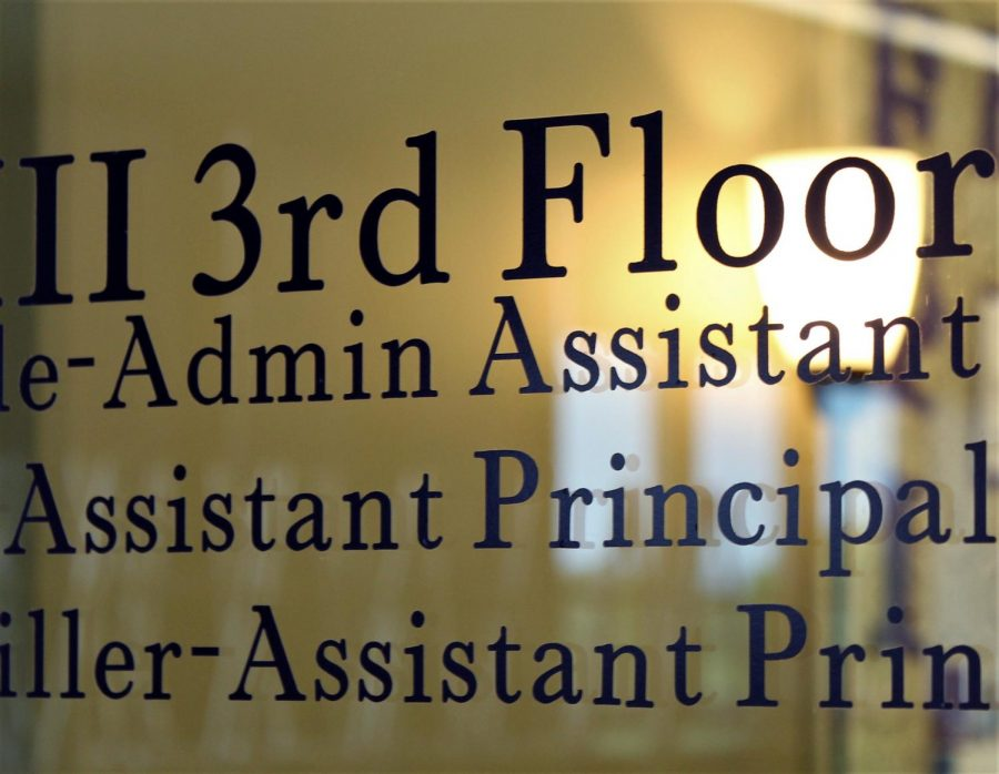 Assistant Principal sign on the third floor, in phase 3.