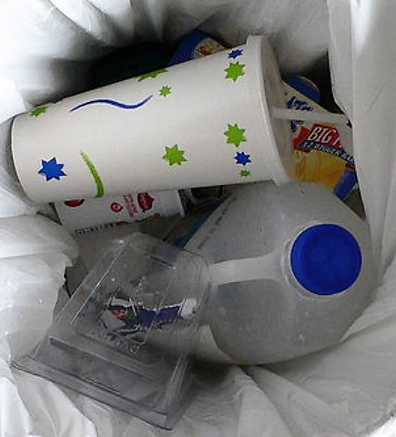 Food inside of a trashcan.