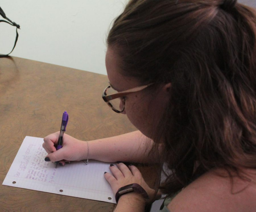 Laney Hoggatt (12) writes to future generations with advice on how to succeed in high school.
