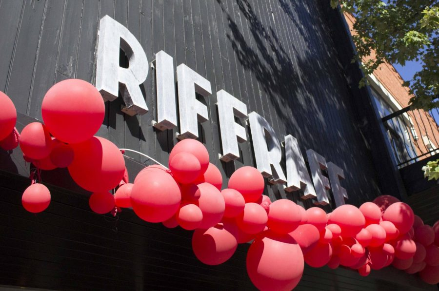 A popular clothing store located on the square, Riffraff decorates to show their support for the Razorbacks upcoming game.