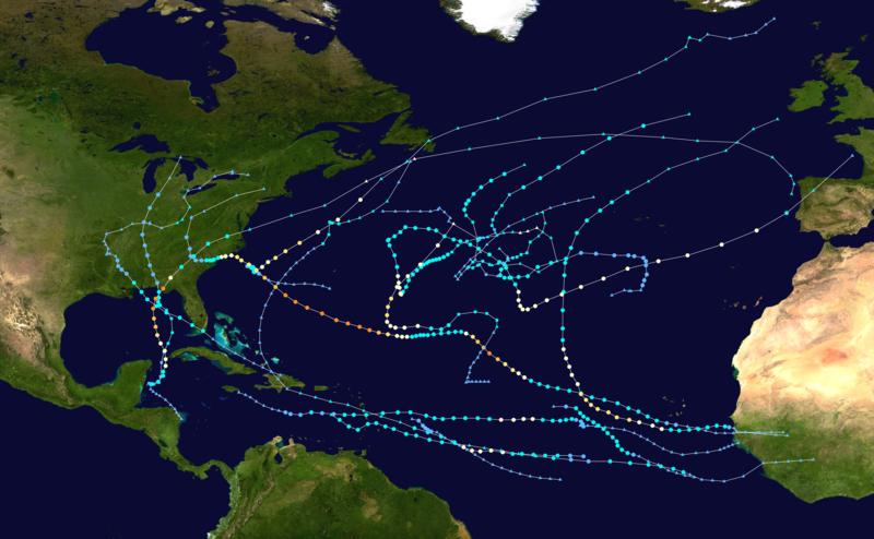 Map of summary of various storm paths in 2018 Atlantic hurricane season