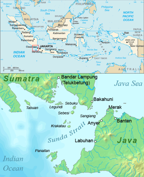 Map of Southeast Asian Country of Indonesia and Detailed Map of Sunda Strait Area Between Sumatra Island and Java Island