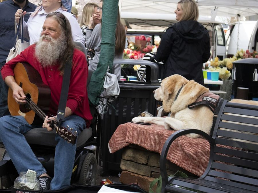 Musician Tim West plays guitar and sings at the Farmers Market.