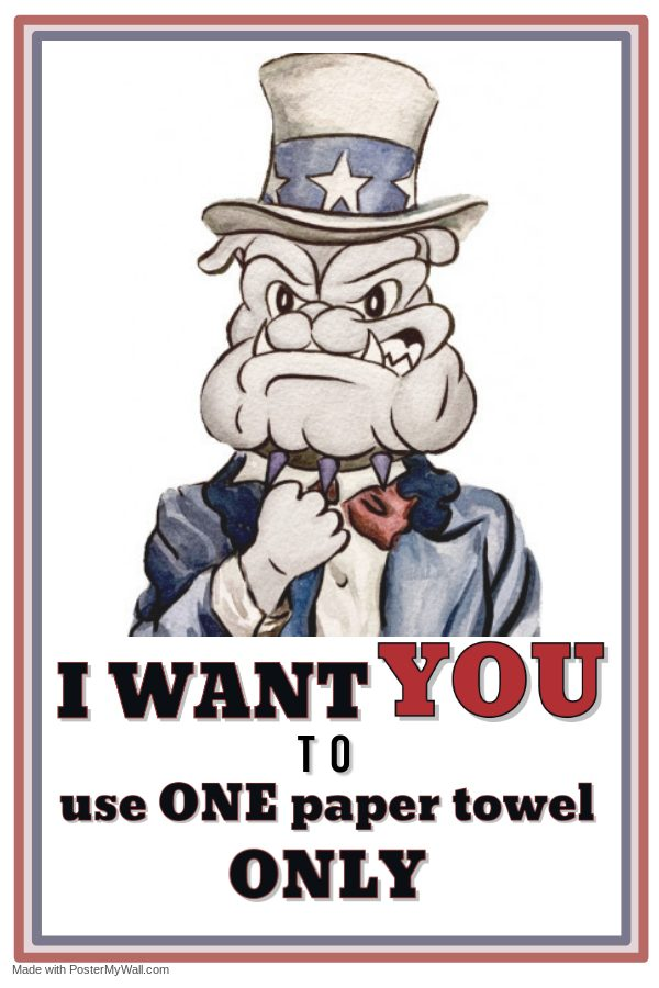 Students tend to use many paper towels after washing their hands. Minimizing paper towel use is a practical way to reduce waste and save resources.