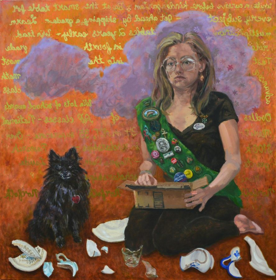 In her self portrait, Natalie Conway sits in the midst of important objects in her life.