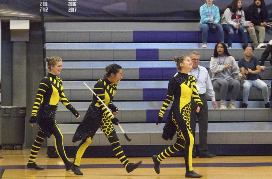 Color Guard Seniors are recognized during the pep rally for their dedication to the sport.