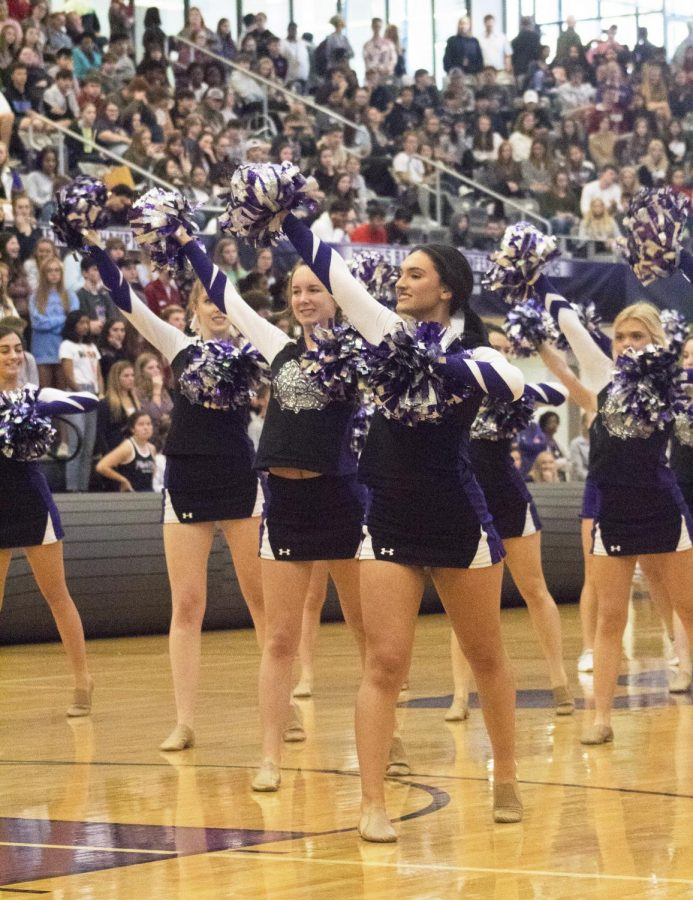 FHS cheer performs a dance while all the students file into the gym.