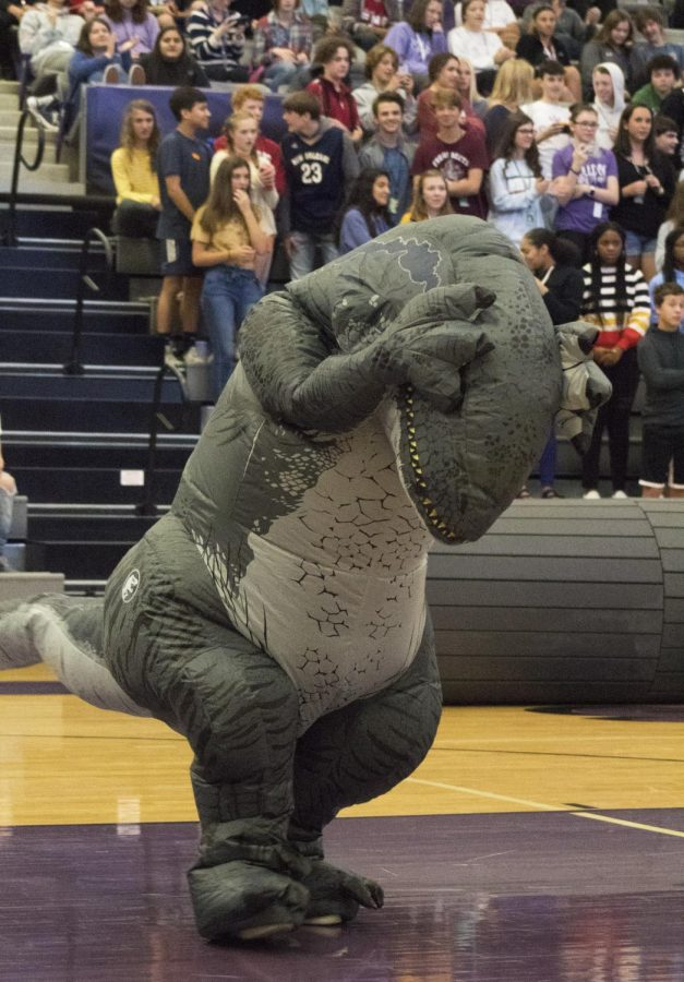 A teacher dresses up as a dinosaur for the annual Halloween pep rally to get out her dancing claws.
