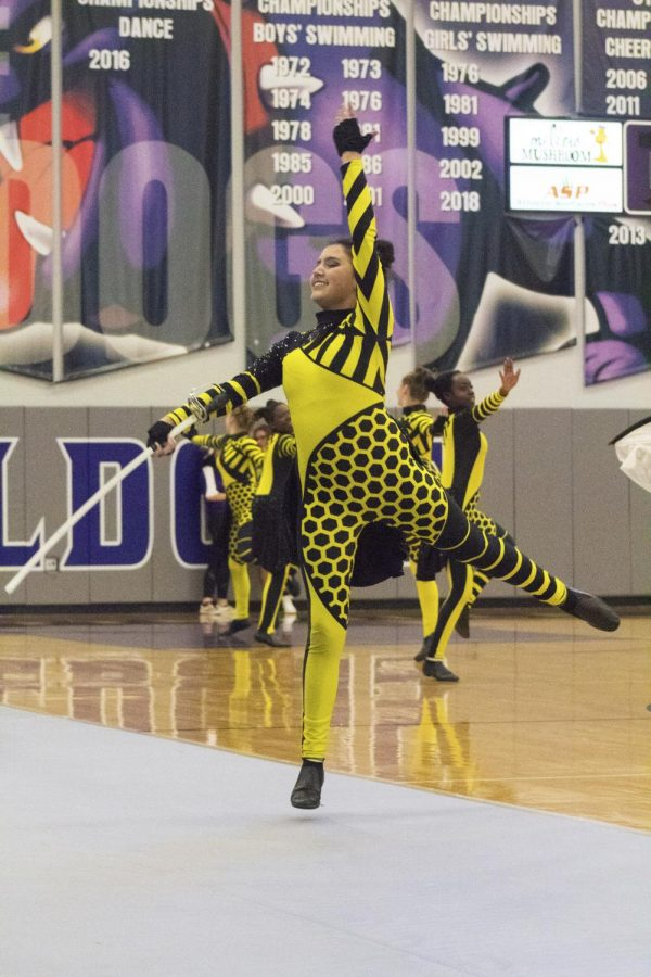 Dylan Dirkach (11) leaps off the ground as Color Guard is preforming their Bee Hive dance routine.
