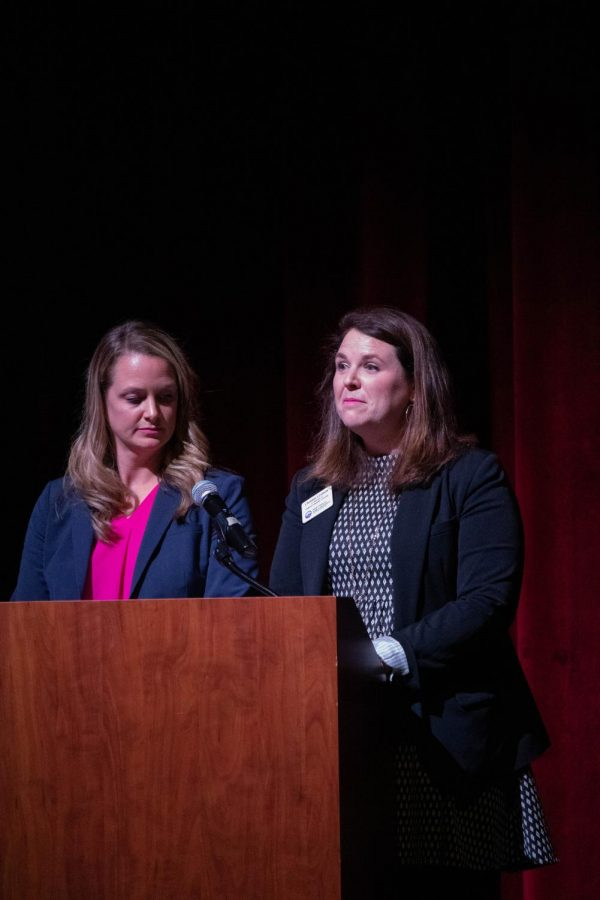 Co-Directors of the Fayetteville Public Schools English Language Learning, Christen Graham and Megan Godfrey open the ESL exit ceremony on Tuesday, Nov. 5.