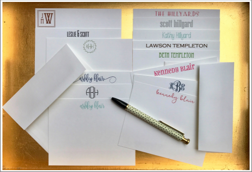 Samples of the custom made notecards from The Write Stuff Catalog.
