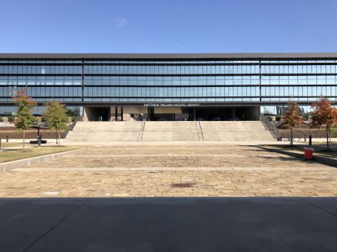 On ground level near the cafeteria and the front entrance of Fayetteville Highschool you will find the main view of the building.