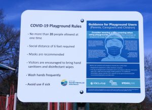 This sign shows the new COVID park rules